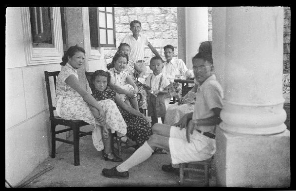 Katharine, young George, and friends